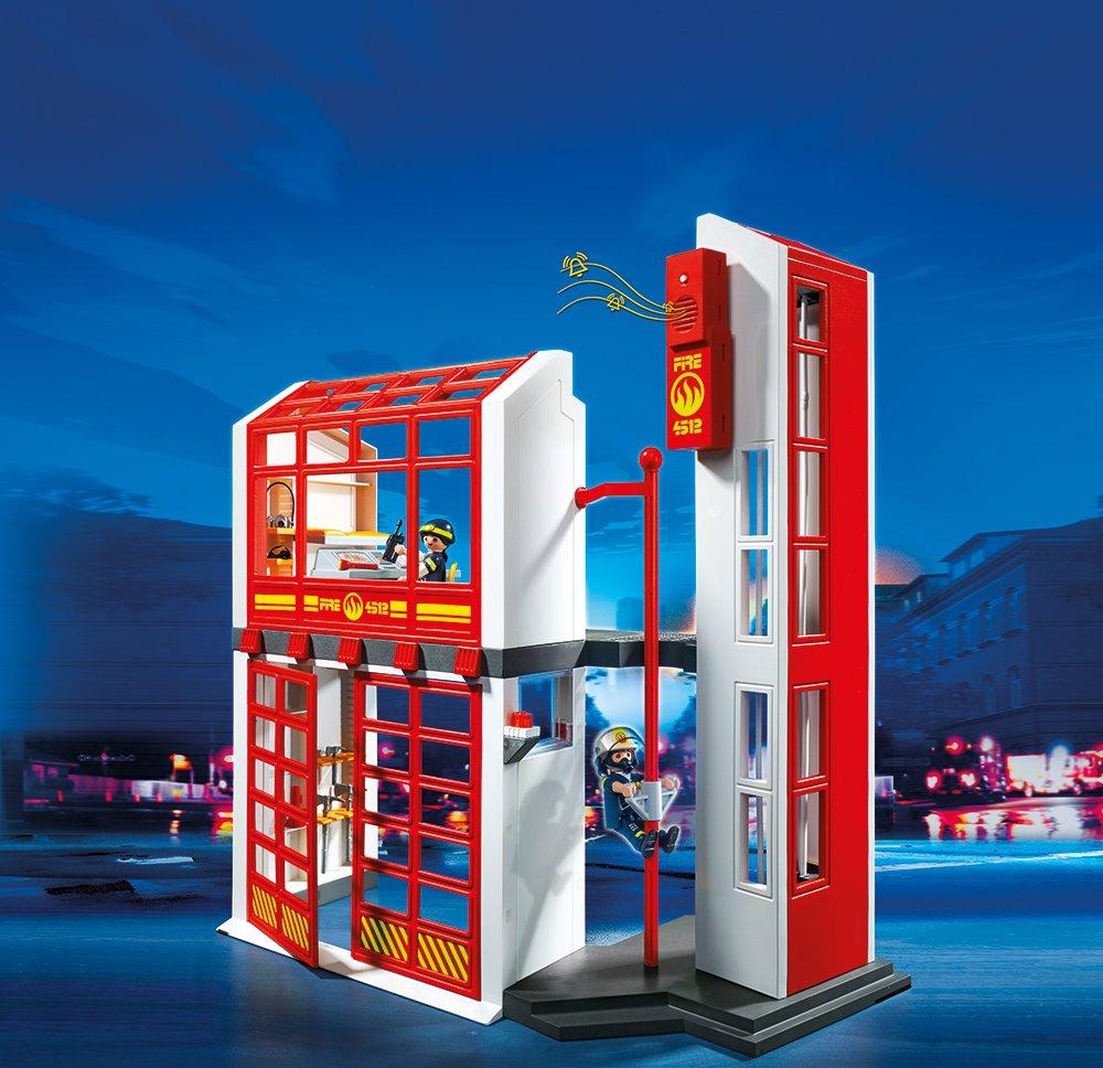 Feuerwache Spielzeug  Bestseller Kunststoff: Playmobil Feuerwehrstation mit Alarm