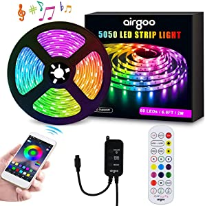 DreamColor LED Strip Lights with APP and Remote, Waterproof 6.6ft/2m USB Light Strip Built-in Digital IC, 5050 RGB LED Strip Lights, Color Changing with Music, Computer Desktop Monitor Backlight