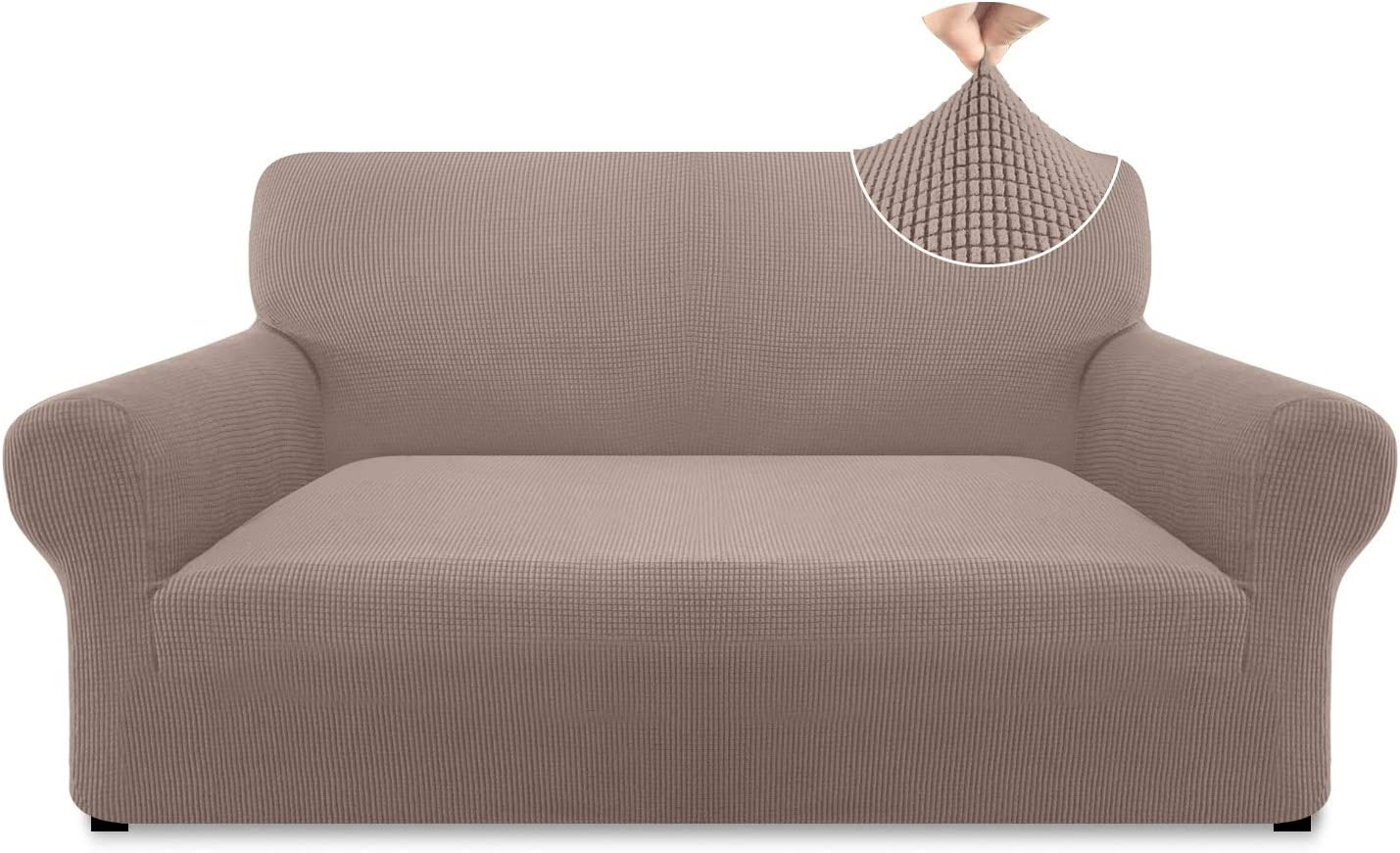 Pitpet High Stretch Loveseat Cover Couch Cover for 2 Cushion Couch Universal Loveseat Slipcover Sofa Cover with Anti-Slip Foam Rollers (Medium, Sand)