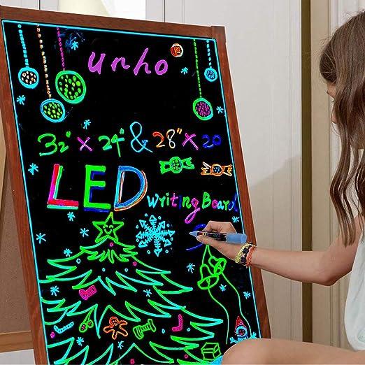 unho Pizarra LED Luminosa 80 x 60cm Tablero de Mensajes LED con 15 ...