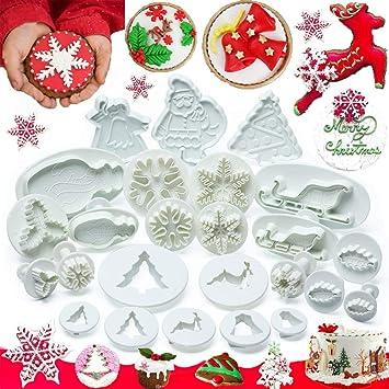 KAISHANE Set de Herramientas para Decoración de Pastel de Navidad 25 Piezas Moldes de Fondant Desatascador Cortador de Galletas Muñeco de Nieve Árbol Copo ...
