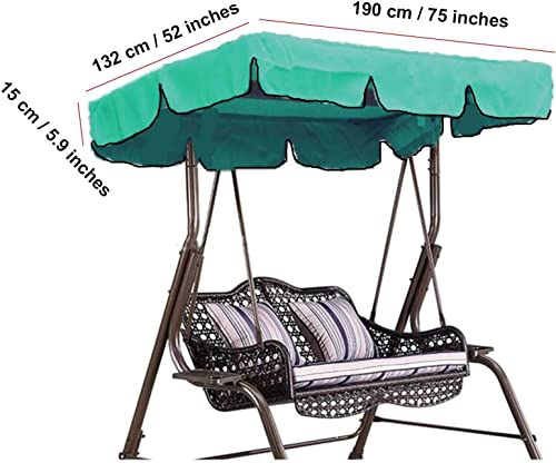 skyfiree Outdoor Swing Canopy Replacement Top Cover 75×52 inches 3 Seater Waterproof 600D Polyester Replacement Canopy UV Block Garden Outdoor Porch Patio Swing Green