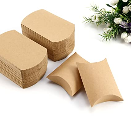 Eco Kraft tarjeta Carry cajas, regalo o regalo de boda Favor cajas, almohada forma