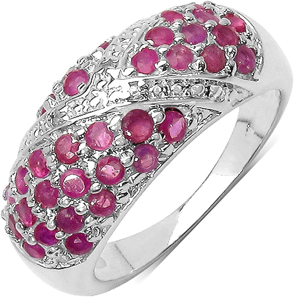 Silvancé - Anillo de mujer - plata esterlina 925 bañada en rodio - auténtico piedras preciosas: Ruby ca. 1.35ct. - R4412R_SSR
