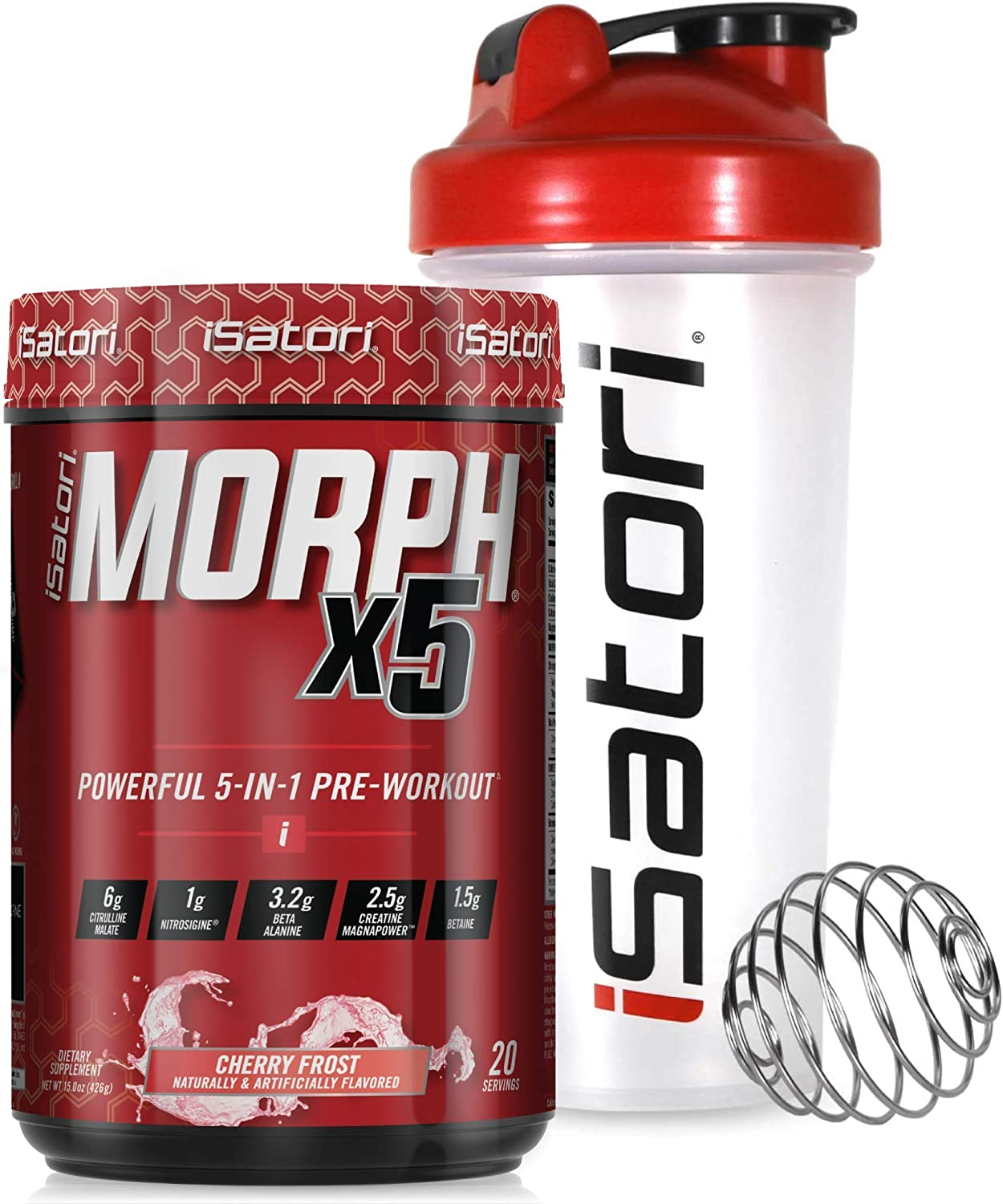 iSatori Morph Xtreme Intense Pre Workout - Bombsicle (20 Servings) & iSatori Classic Blender Bottle (Clear Bottle with Red Top)