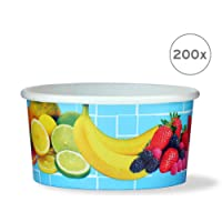 200x ice cream cup, cardboard ice cream cup, fruit cup with a filling capacity of 160 ml for 1 scoops of ice cream