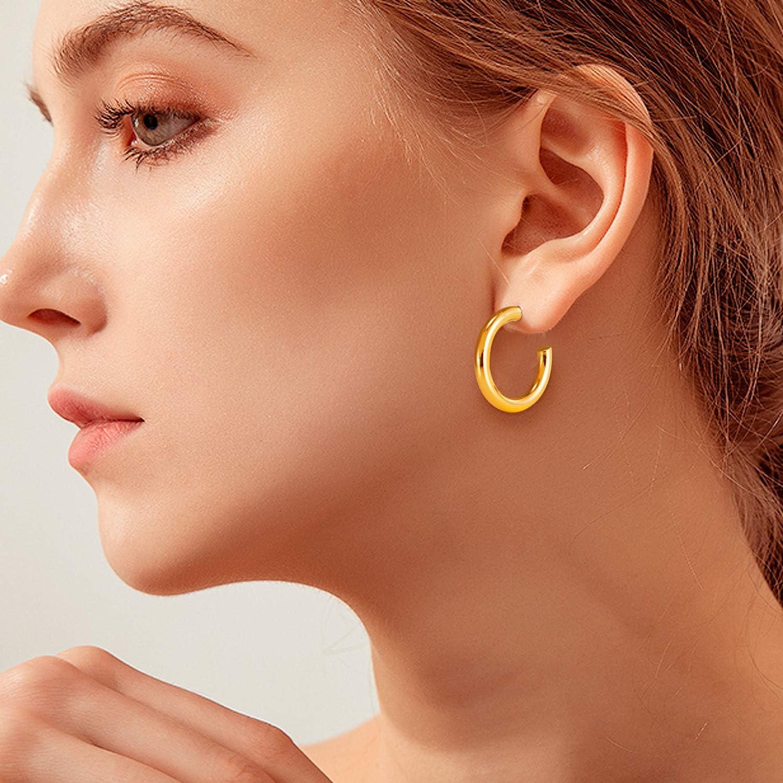 Chunky Gold Hoop Earrings for Women 18K Thick Open Hoops Super Lightweight Round-Tube Minimalist Hypoallergenic High-Gloss Hoop Earrings for Women Girl Jewelry Gift 30//40// 50MM