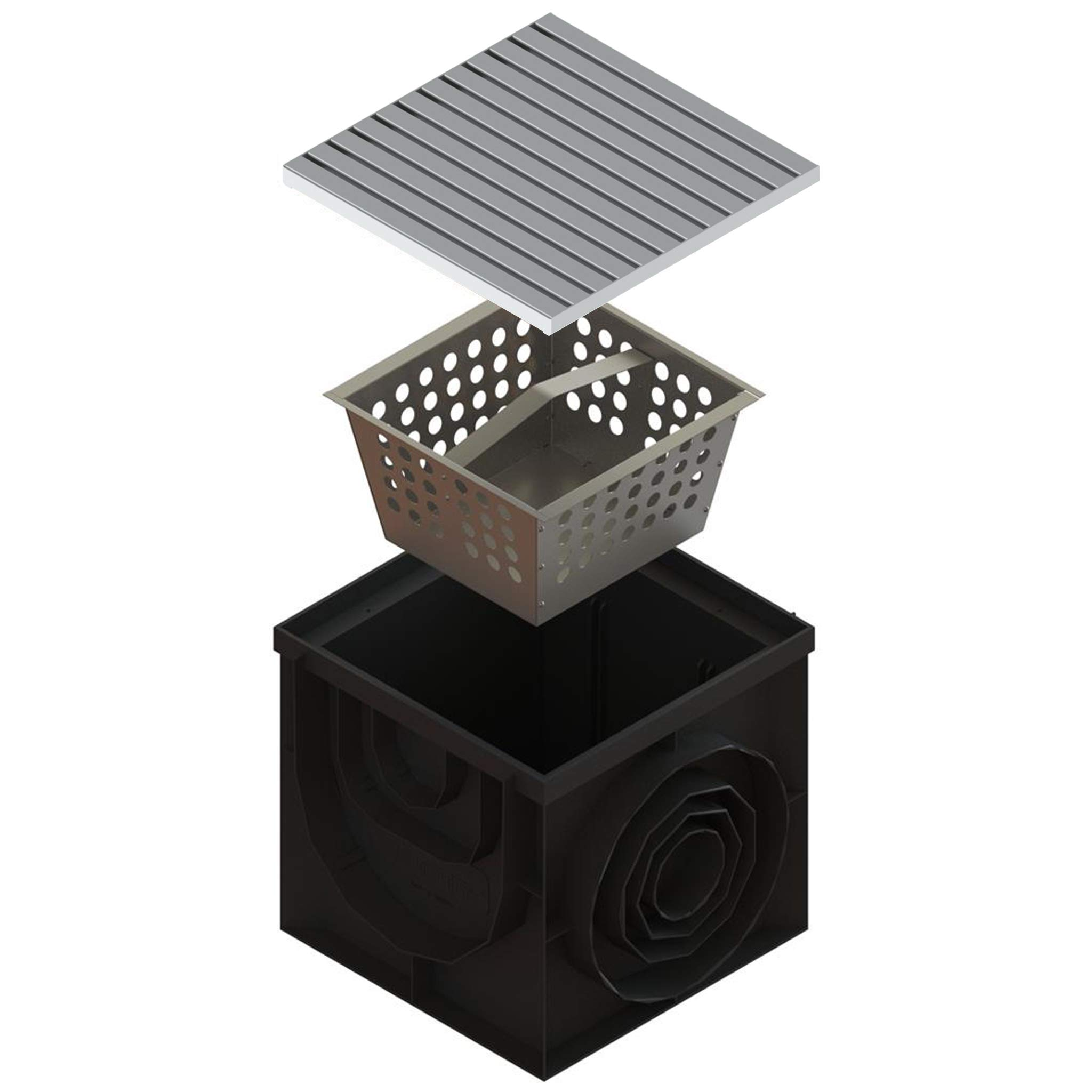 Standartpark - 16x16 Inch Catch Basin. PPE Plastic with 100% Stainless Steel - ADA/Heel Proof Grate and Sediment Basket Included.