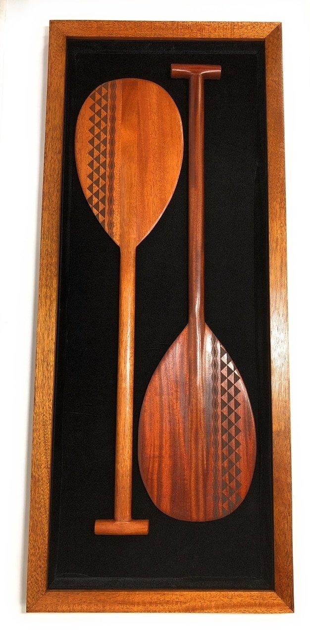 Koa Shadow box w/ Tribal Oars 42''X 18'' - Black Velvet - Made In Hawaii   #koasb17