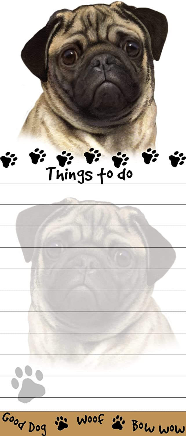 """""""Pug Magnetic List Pads"""" Uniquely Shaped Sticky Notepad Measures 8.5 by 3.5 Inches"""