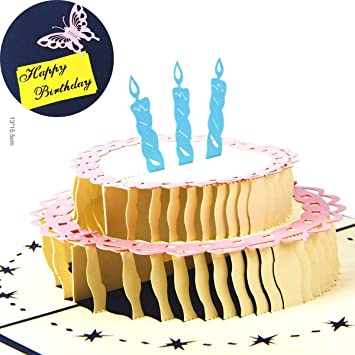 Sprinkles Gifts Laser Cut 3D Birthday Cake Candles Greeting Cards Pop Up Card
