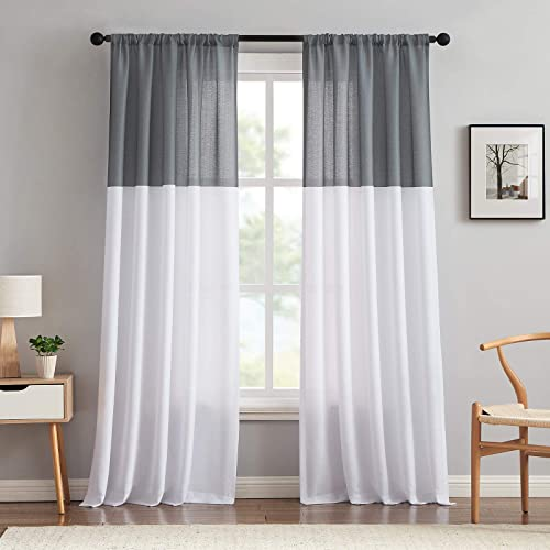 Melodieux Color Block Semi Sheer Curtain