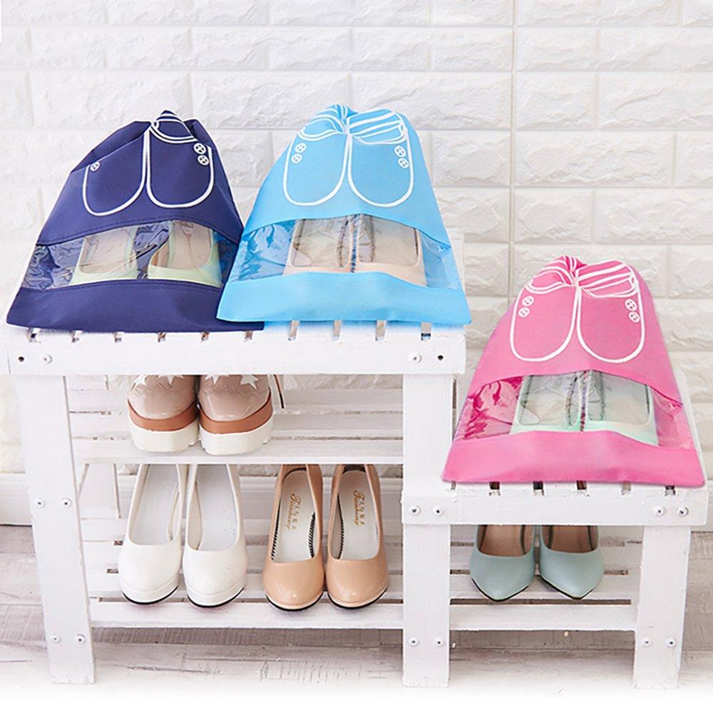 SENHAI 5 Piezas Zapatos de Viaje Bolsas 1pcs Impermeable Zapato Organizador de Almacenamiento con Cremallera+4pcs Cord/ón Bolsa para Gimnasio Hombre Mujer