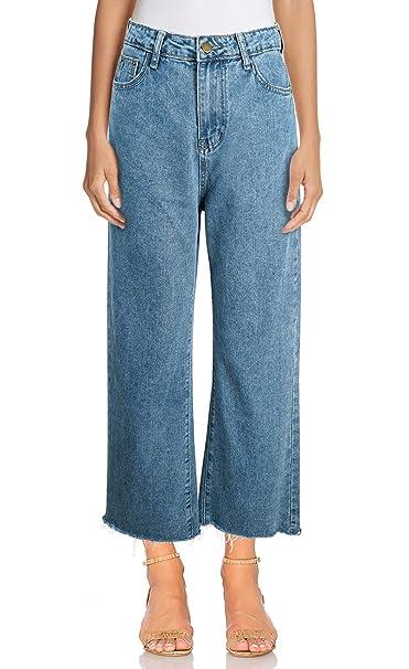 TAIPOVE Damen Jeanshose Flared Jeans Weites Bein Und Hoher