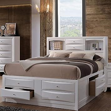 Amazon Com Acme Furniture Ireland 21710f Full Bed With Storage White Furniture Decor