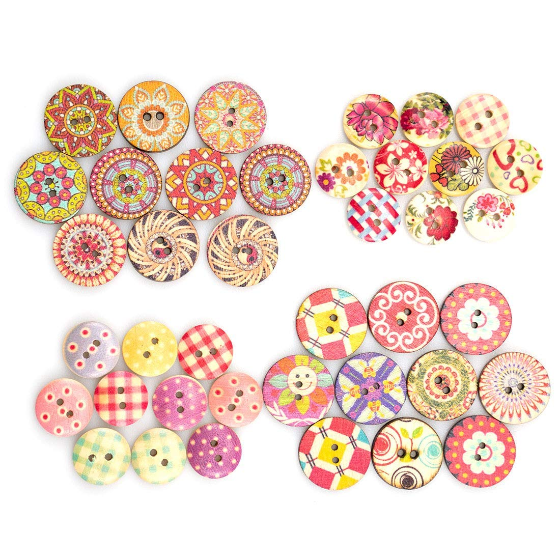 150 ASST RED AND BLACK WOOD /& RESIN BUTTONS /& EMBELLISHMENTS SEWING CRAFTS DIY