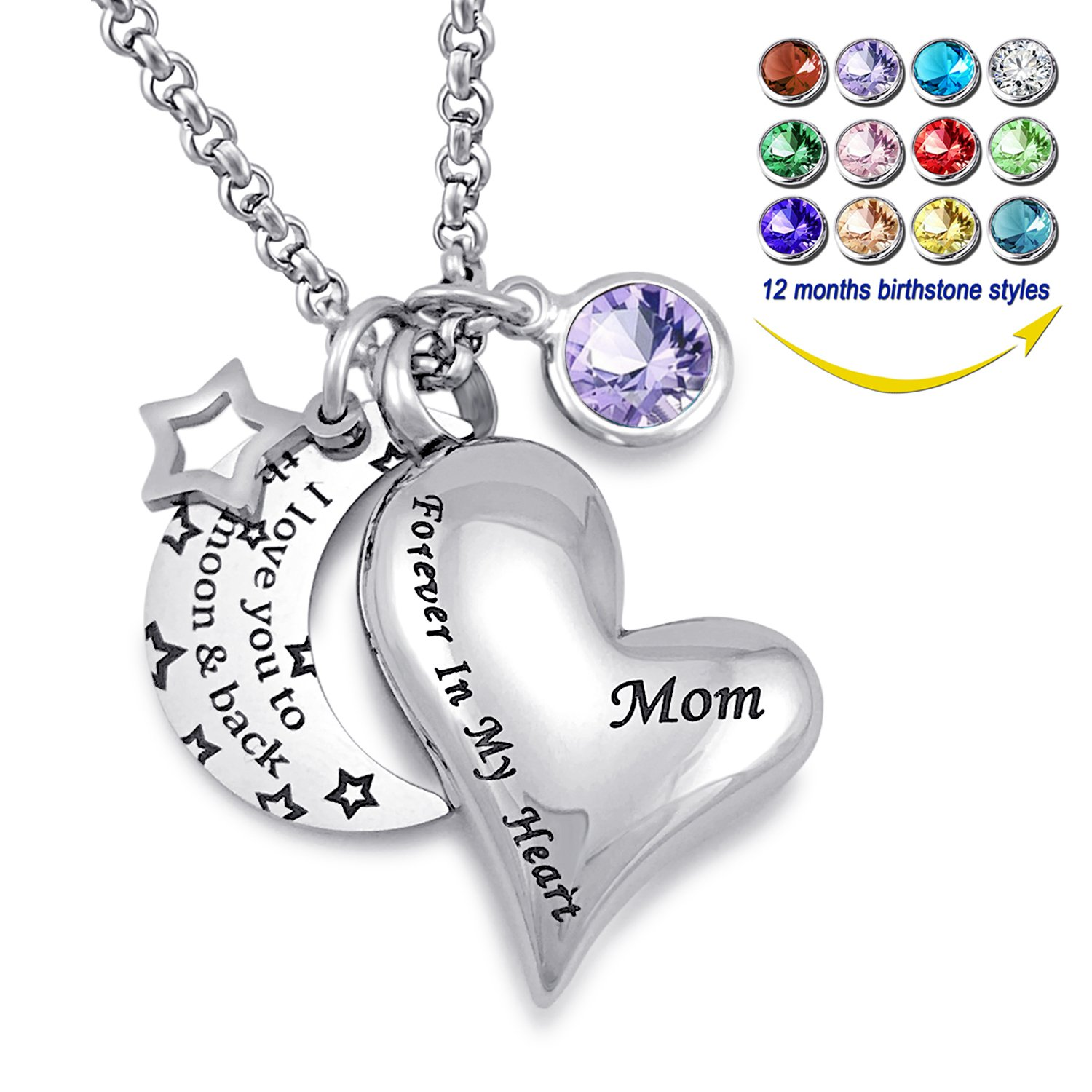 YOUFENG Urn Necklaces for Ashes I Love You to the Moon and Back for Mom Cremation Urn Locket Birthstone Jewelry (February urn necklace)