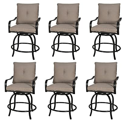 Fabulous Rimba Outdoor Swivel Chairs Height Patio Bar Stools With Beige Cushions Set Of 6 Short Links Chair Design For Home Short Linksinfo