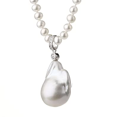 Lustrous large irregular pearl pendant white pearl necklace lustrous large irregular pearl pendant white pearl necklace mozeypictures Gallery