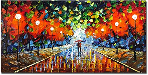 Yotree 24×48 Inch Paintings,Simple Modern Style Abstract Canvas Art 3D Hand-Painted Landscape Abstract Artwork Acrylic knife painting Ready to Hand