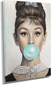 Audrey Hepburn Gum Canvas Print Breakfast at Tiffany's Wall Colored Pop Art Canvas Photo Home Decor Vintage Audrey Hepburn Wall Art Beauty (24in x 36in Gallery Wrapped)