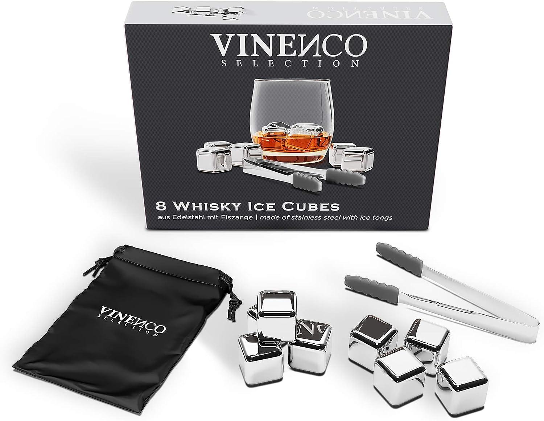 Cubitos de Hielo Reutilizable Set - 8 Cubos Refrigeración Acero de Calidad | Piedras Whisky, Cocteleria Mini Bar Accesorios - Idea Caja de Regalo Padre Mujer Hombre Cumpleaño, Whiskey Ice Cube Stone