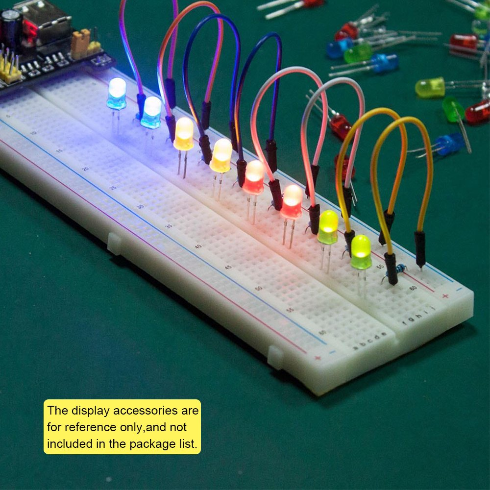 KEYESTUDIO Kit avec Power Supply Module Jumper Wires Set avec Box Breandboard 830 Points 65pcs Jumper Wires pour MEGA2560 R3 Projects Raspberry Pi