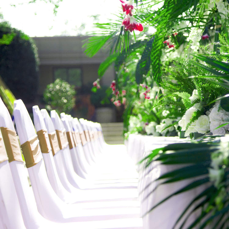 HENGMEI 50 Elastische Stuhl-Sch/ärpen Schleifen Stretchband Stuhl Cover-Band Hochzeitsdekoration Hussen B/änder f/ür Hochzeit Champagner, B/änder, 50 St/ück Bankett Partys