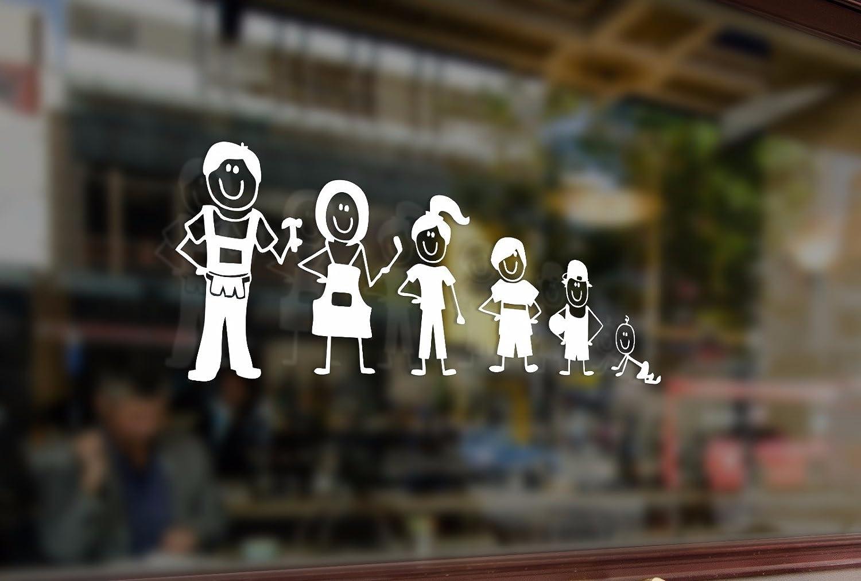 25cm Family Stick Figure Dad Mom Children Vinyl Stickers Vinyl Stickers Funny Decals Bumper Car Auto Computer Laptop Wall Window Glass Skateboard Snowboard Bananasticker
