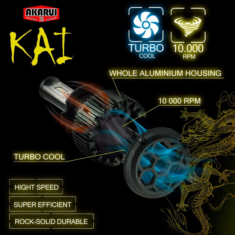 6K Cool White Single Beam Pair H13 KAI AKARUI LED Headlight Bulbs Conversion Kit 7000 lumens CSP LED Chip Official Warranty 9008