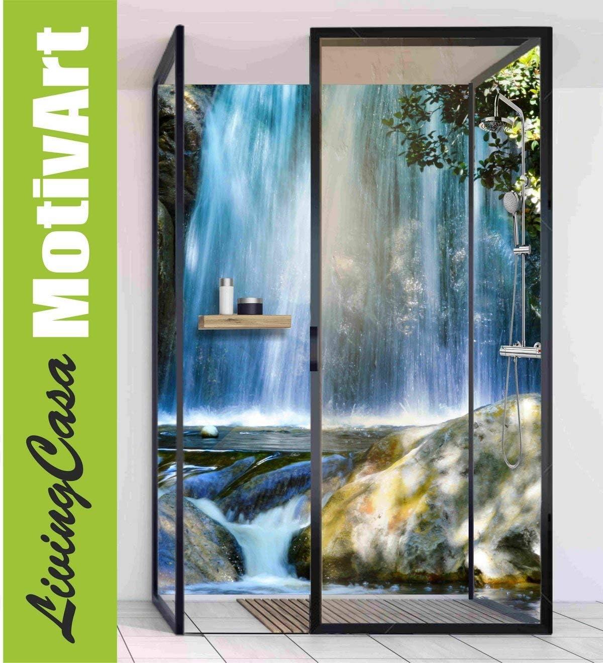 Mampara de ducha de esquina de aluminio, con cascada, natural ...