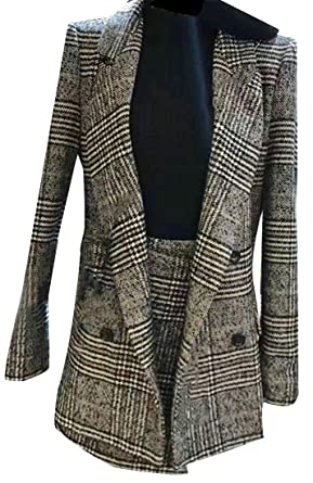 d6d5142ad2 Lutratocro Womens Autumn Houndstooth Plaid Blazer Fashion Double Breasted 2  Piece Lapel Dress Coat Winter Set at Amazon Women's Clothing store: