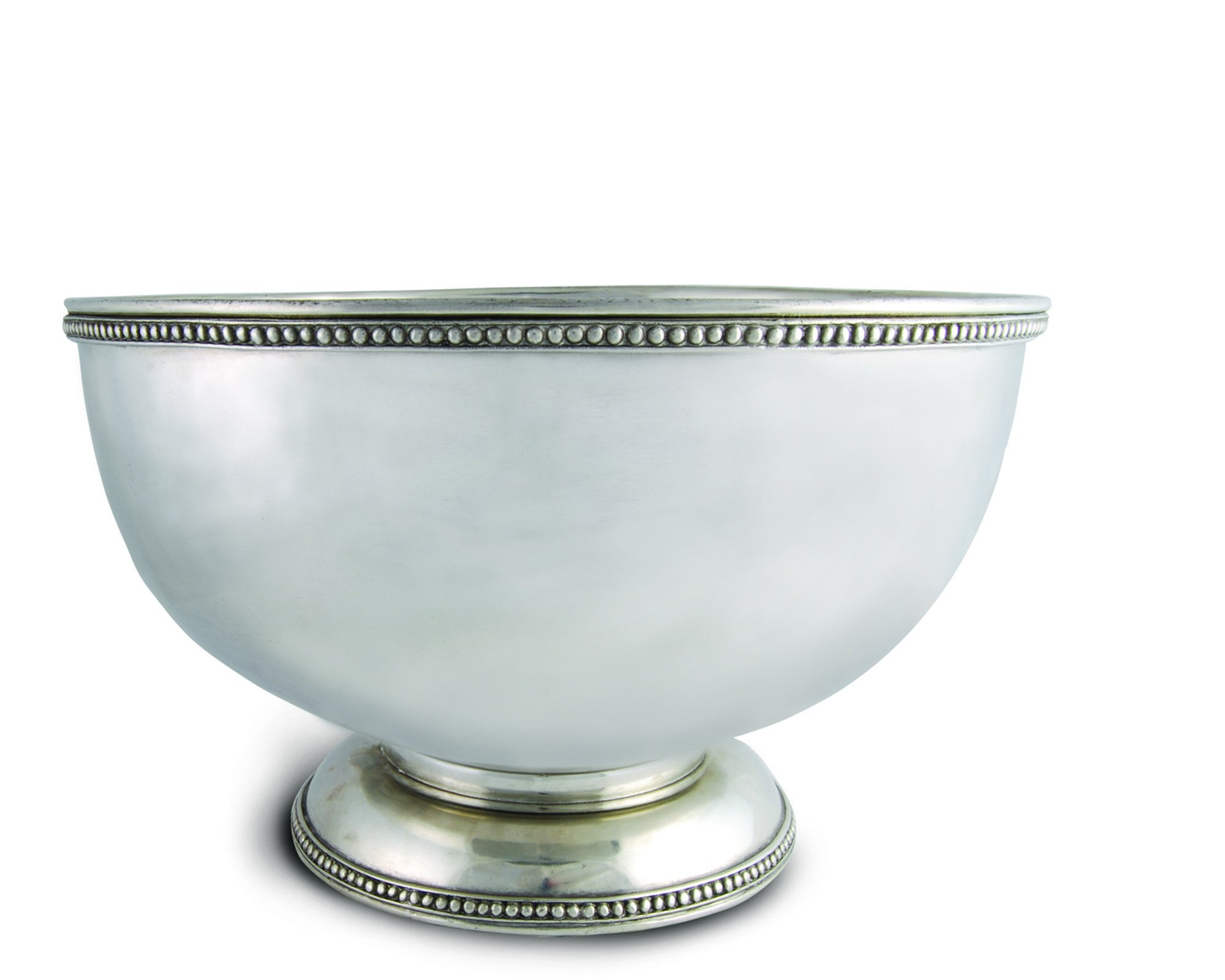 Vagabond House Pewter Medici Bead Ice Tub/Punch Bowl 18.5'' Wide x 11'' Tall