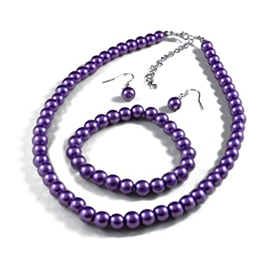 Jay Jewellery - Purple glass pearl necklace with earrings and bracelet chY7VAy