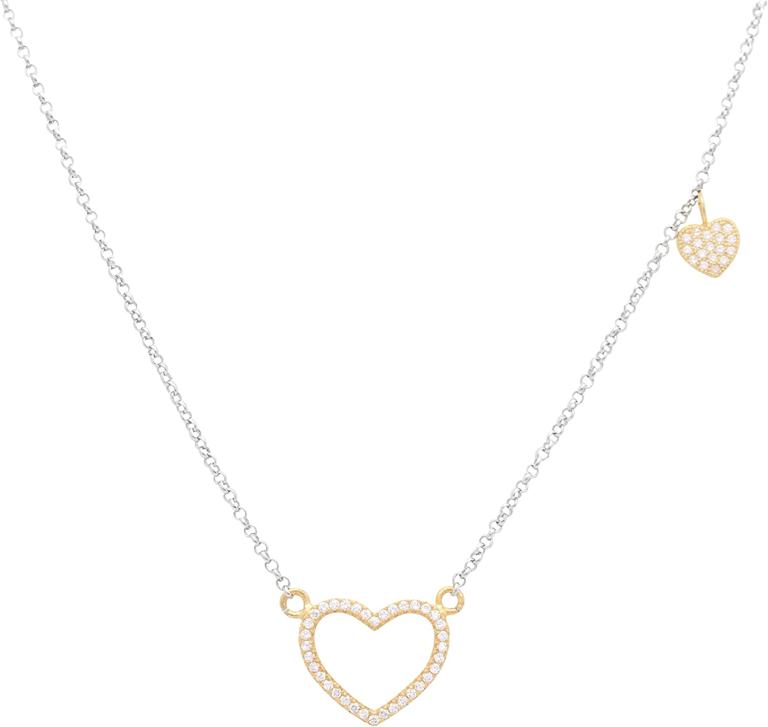 """Sterling Silver 925 Open Heart Necklace Pendant Girls Teens Cubic Zirconia 15"""" Strong Rolo Chain ItalyUnicornJ"""