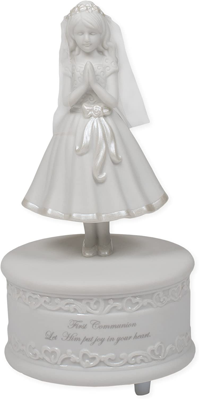 Amazon Com First Communion Decoration Porcelain Musical Praying Girl Figurine 7 1 2 Inch Home Kitchen