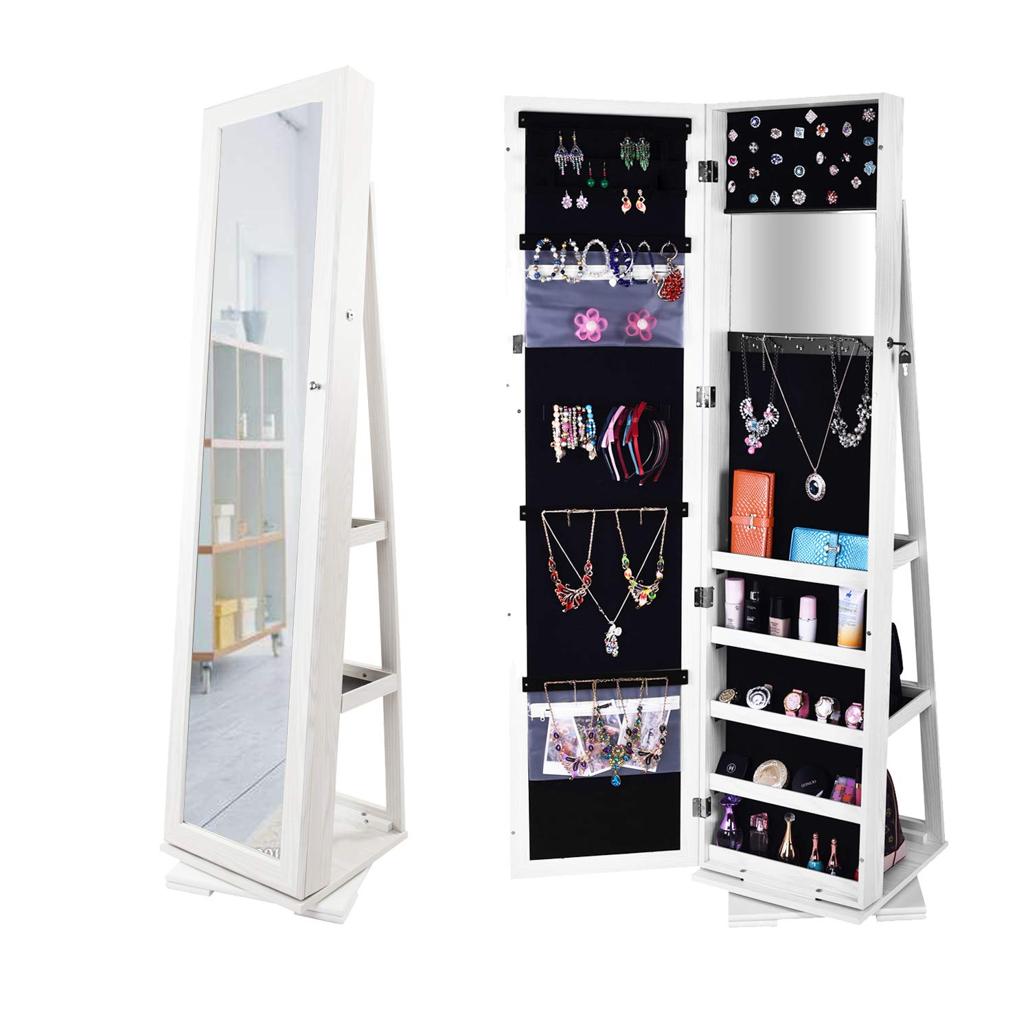 Bonnlo Jewelry Armoire 360 Degree Rotary Swivel Mirrored Cabinet,w/ 63'' H Full Length Mirror Lockable Decorate Closet Makeup Organizer,Floor Bedroom Solid Freestanding,New Year Gift by Bonnlo