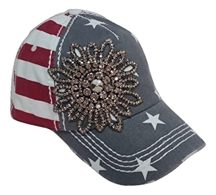 Olive   Pique Large Rhinestone Flower Bling USA Theme Patriotic Baseball Cap  (Red White Blue d75b2d164b6