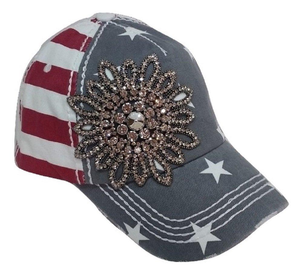 Olive & Pique Large Rhinestone Flower Bling USA Theme Patriotic Baseball Cap (Red White Blue)