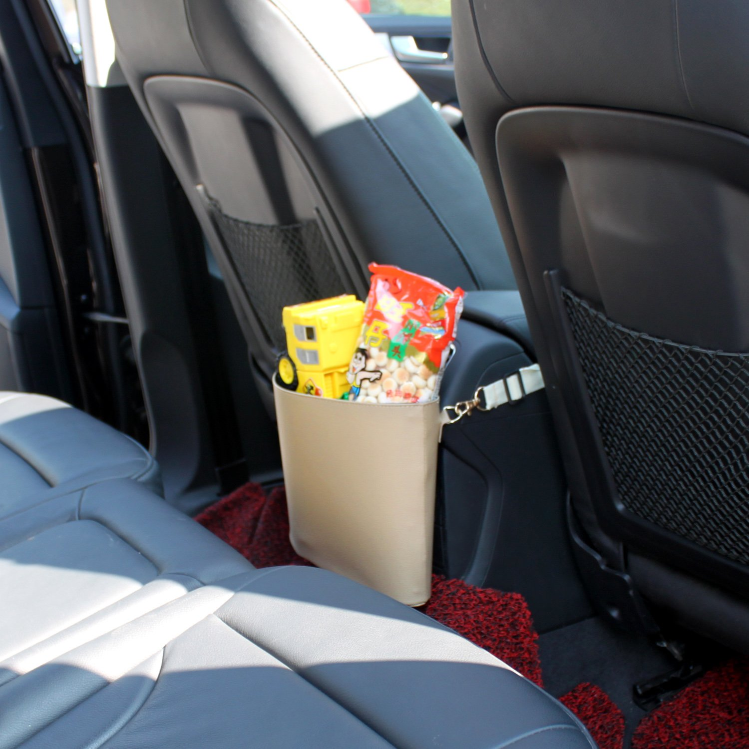 Black Outdoor Timorn Car Trash Can PU Leather Car Garbage Can Auto Trash Bin Garbage Bags for Travelling Home and Vehicle Use
