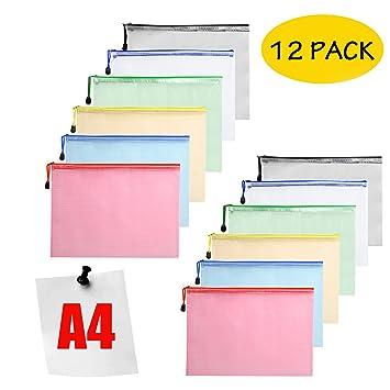 Carteras de plástico - Carpetas con cremallera para documentos, A4, para colegio, oficina, color 12 Pcs: Amazon.es: Oficina y papelería