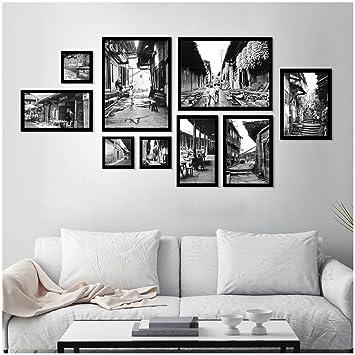 Amazon.de: Bilderrahmen Collage Set von 9 Schwarz-Weiß-alte Bild ...