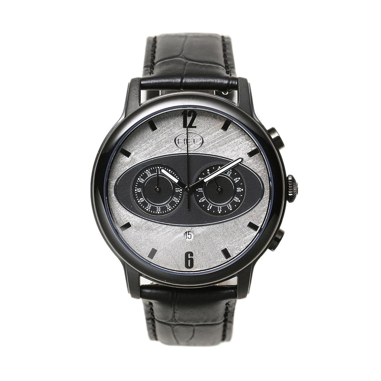 REC Mark 1 M5 men'Herren Quarzuhr mit Grau Dial chronograph Anzeige und schwarzem Lederarmband M5