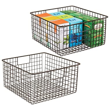 mDesign Farmhouse Decor Metal Wire Food Storage Organizer, Bin Basket with Handles for Kitchen Cabinets, Pantry, Bathroom, Laundry Room, Closets, Garage - 12  x 12  x 6  - 2 Pack - Bronze