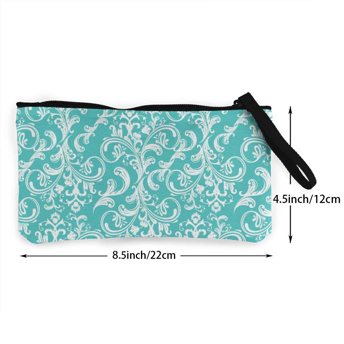 Coin Pouch Pretty Arabesque Blue Canvas Coin Purse Cellphone Card Bag With Handle And Zipper