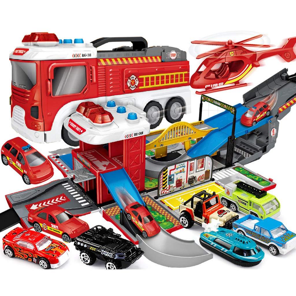 100% a estrenar con calidad original. Fire Truck Truck Truck Camión de bomberos, Vehículo de ingeniería, Coche de policía, Coche militar, Coche de juguete para niños, Coche de juguete con deformación del coche de estacionamiento, Juego de Cochero de juguete para  promociones emocionantes