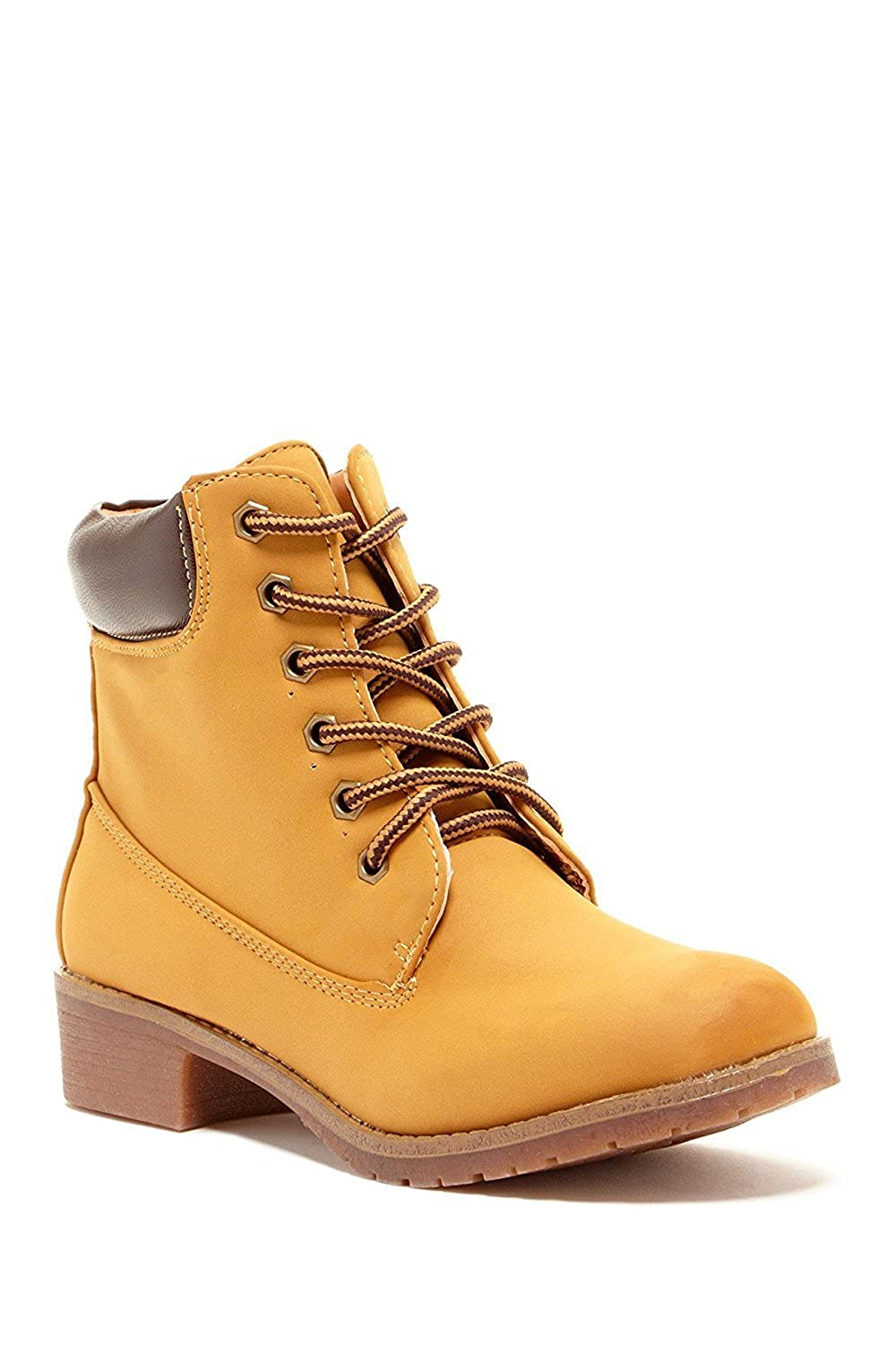 Women's Military Faux Suede Grip Sole Stacked Heel Boot Combat Lace Up Round Toe Bootie