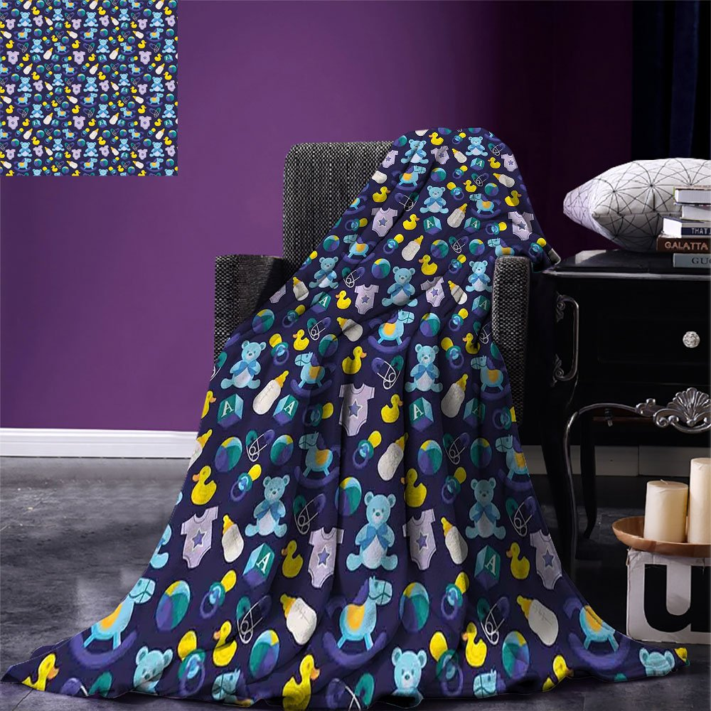 smallbeefly Nursery Weave Pattern Extra Long Blanket Children Toys Pattern with Rubber Duck Teddy Bear Beach Ball and Rocking Horse Custom Design Cozy Flannel Blanket Multicolor