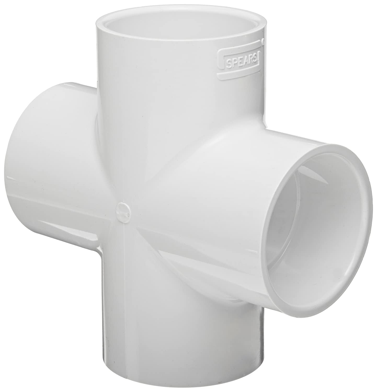 "Spears 420 Series PVC Pipe Fitting, Cross, Schedule 40, 3"" Socket"