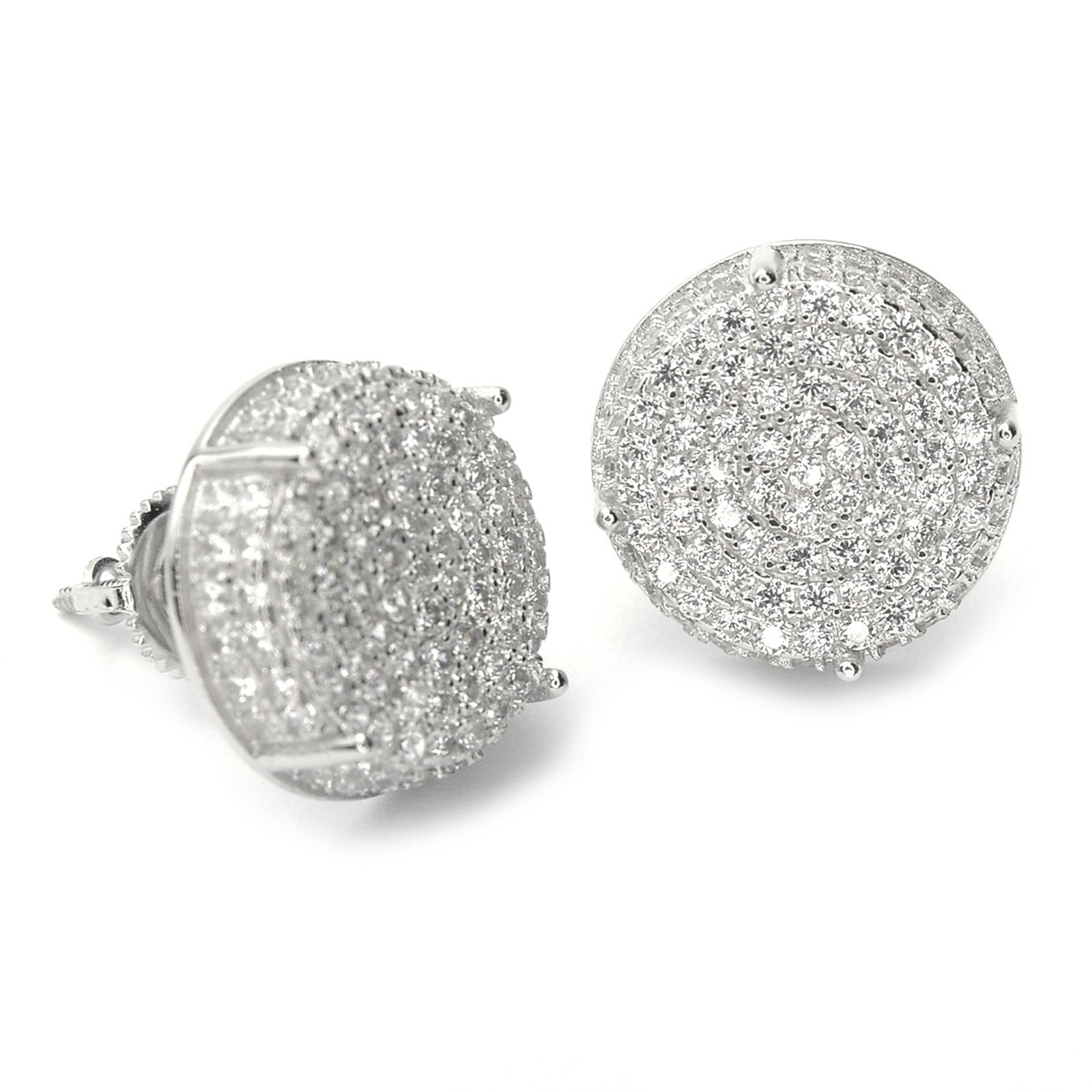 Men's Full Iced Out Cubic Zirconia Round Setting Screw Back Earring BE 11403 (Silver Plated)